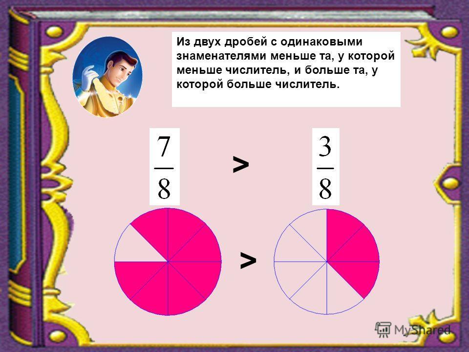 > > Из двух дробей с одинаковыми знаменателями меньше та, у которой меньше числитель, и больше та, у которой больше числитель.