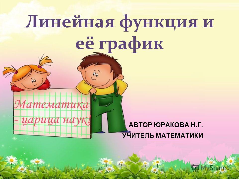 Линейная функция и её график АВТОР ЮРАКОВА Н.Г. УЧИТЕЛЬ МАТЕМАТИКИ