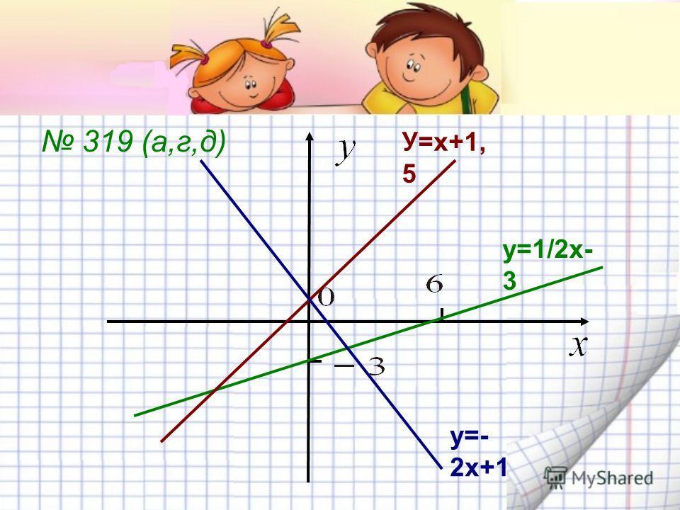 319 (а,г,д) у=1/2х- 3 У=х+1, 5 у=- 2х+1