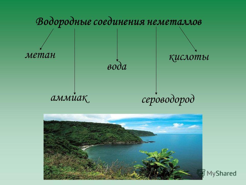 метан аммиак вода сероводород кислоты
