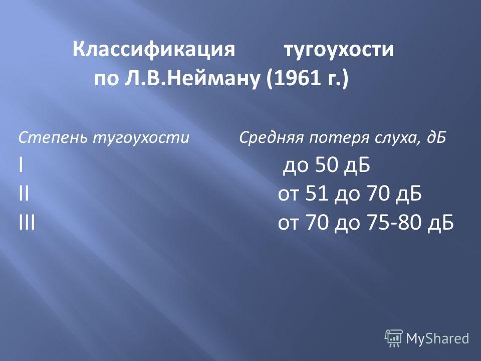 Классификация тугоухости по Л.В.Нейману (1961 г.) Степень тугоухости Средняя потеря слуха, дБ I до 50 дБ II от 51 до 70 дБ III от 70 до 75-80 дБ