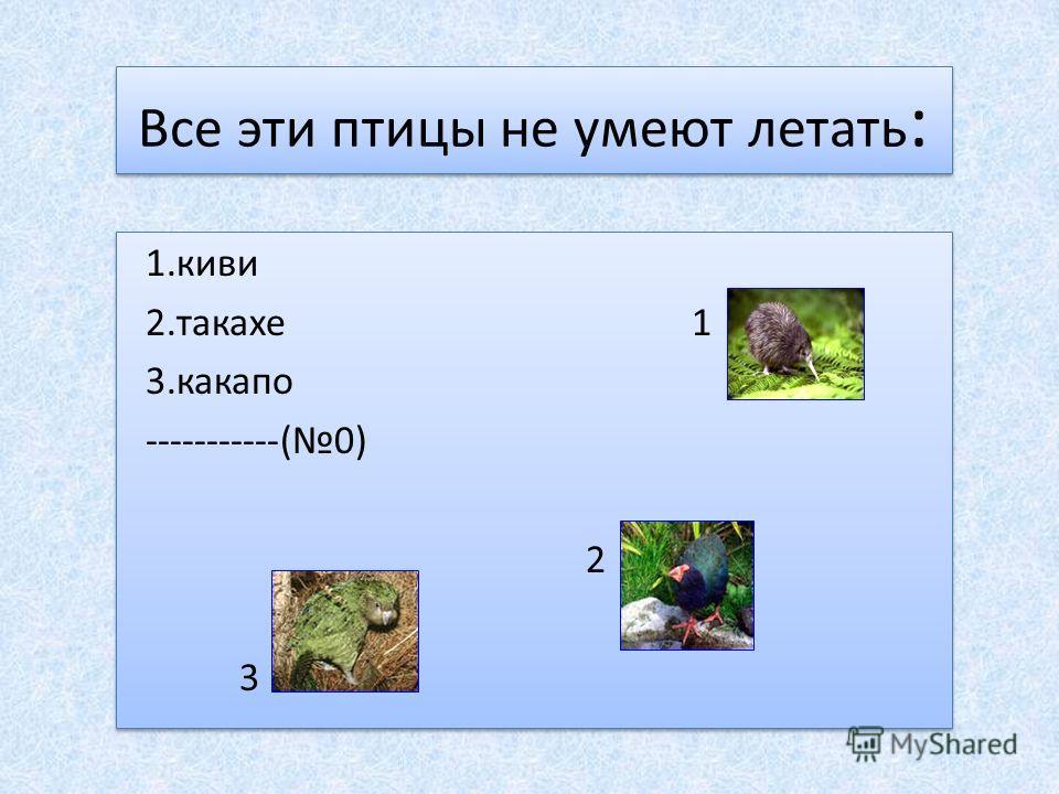 Все эти птицы не умеют летать : 1.киви 2.такахе 1 3.какапо -----------(0) 2 3 1.киви 2.такахе 1 3.какапо -----------(0) 2 3