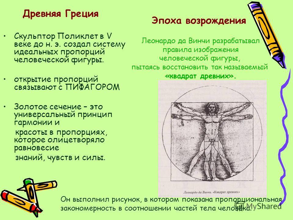 Скульптор Поликлет в V веке до н. э. создал систему идеальных пропорций человеческой фигуры. открытие пропорций связывают с ПИФАГОРОМ Золотое сечение – это универсальный принцип гармонии и красоты в пропорциях, которое олицетворяло равновесие знаний,