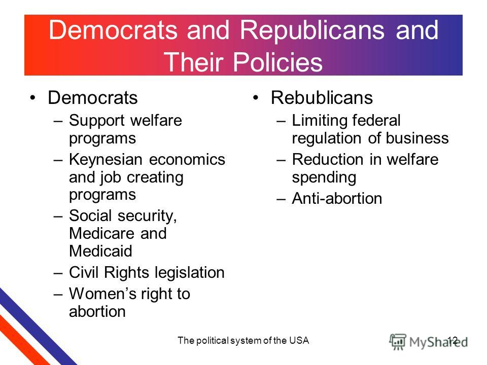 The political system of the USA12 Democrats and Republicans and Their Policies Democrats –Support welfare programs –Keynesian economics and job creating programs –Social security, Medicare and Medicaid –Civil Rights legislation –Womens right to abort