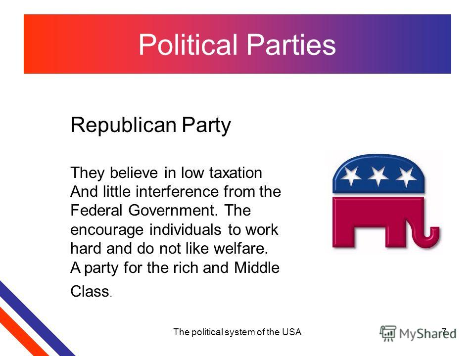 The political system of the USA7 Political Parties Republican Party They believe in low taxation And little interference from the Federal Government. The encourage individuals to work hard and do not like welfare. A party for the rich and Middle Clas