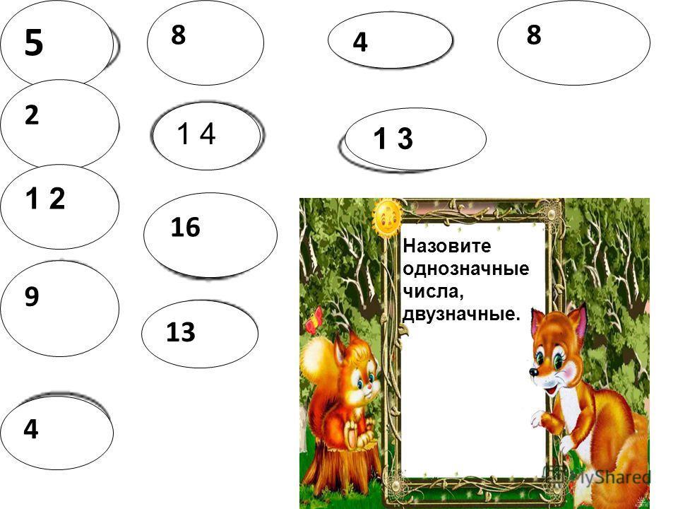 5 2 1 2 9 4 8 1 4 16 13 8 4 Назовите однозначные числа, двузначные.