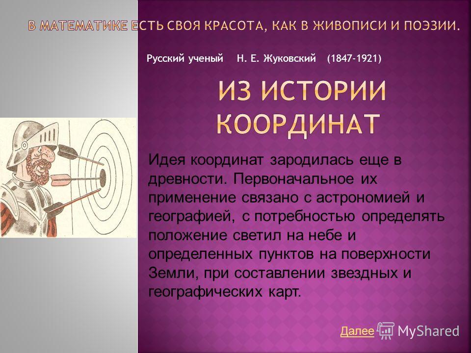 Русский ученый Н. Е. Жуковский (1847-1921) Идея координат зародилась еще в древности. Первоначальное их применение связано с астрономией и географией, с потребностью определять положение светил на небе и определенных пунктов на поверхности Земли, при