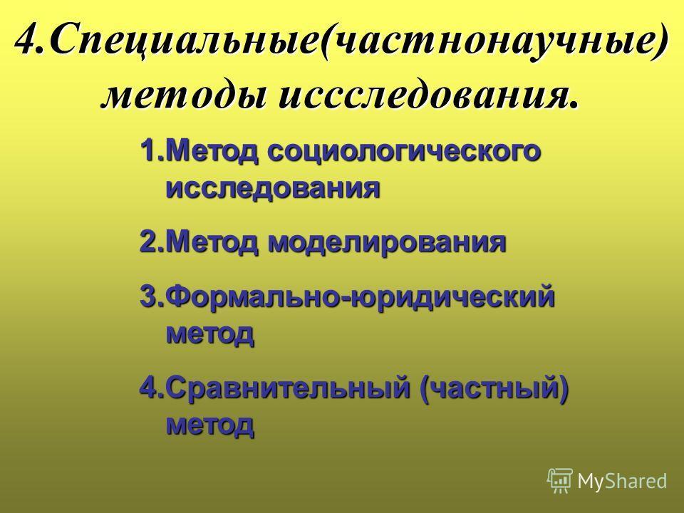 4.Специальные(частнонаучные) методы иссследования. 1.Метод социологического исследования 2.Метод моделирования 3.Формально-юридический метод 4.Сравнительный (частный) метод