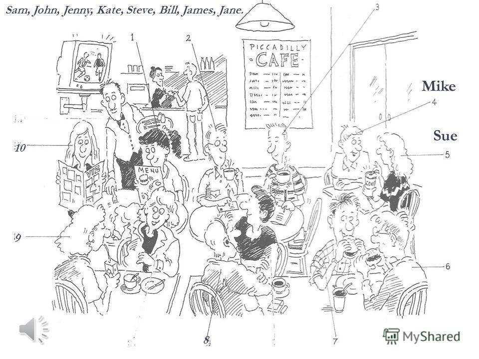 Sam, John, Jenny, Kate, Steve, Bill, James, Jane. 8 9 10 Mike Sue