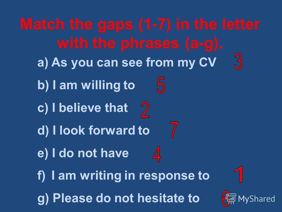 Match the gaps (1-7) in the letter with the phrases (a-g). a) As you can see from my CV b) I am willing to c) I believe that d) I look forward to e) I do not have f) I am writing in response to g) Please do not hesitate to