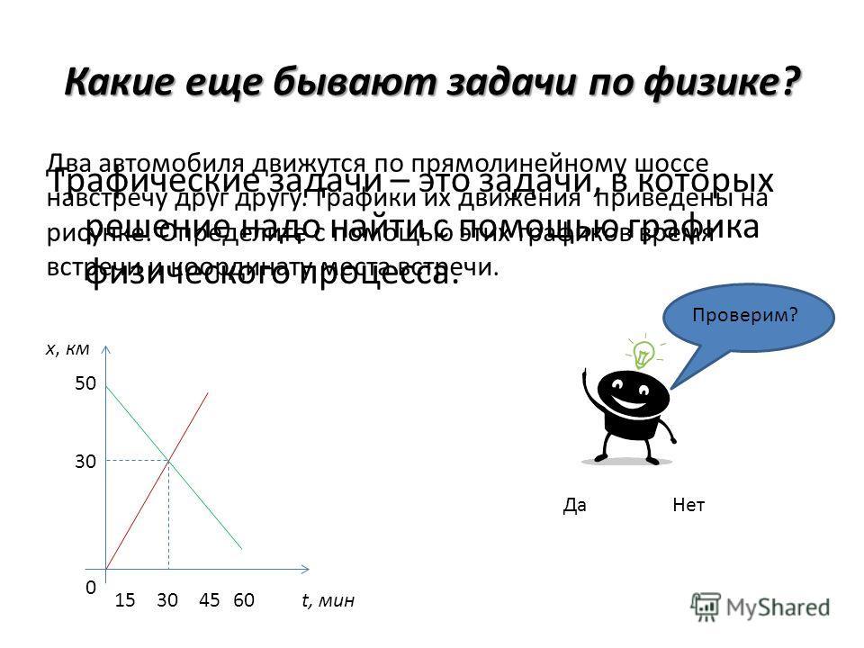 Какие еще бывают задачи по физике? Графические задачи – это задачи, в которых решение надо найти с помощью графика физического процесса. x, км 50 30 0 15 304560t, мин Два автомобиля движутся по прямолинейному шоссе навстречу друг другу. Графики их дв