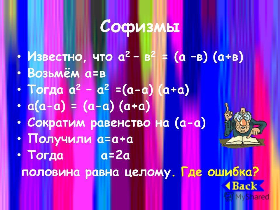 Софизмы Известно, что а 2 – в 2 = (а –в) (а+в) Возьмём а=в Тогда а 2 – а 2 =(а-а) (а+а) а(а-а) = (а-а) (а+а) Сократим равенство на (а-а) Получили а=а+а Тогда а=2а половина равна целому. Где ошибка?
