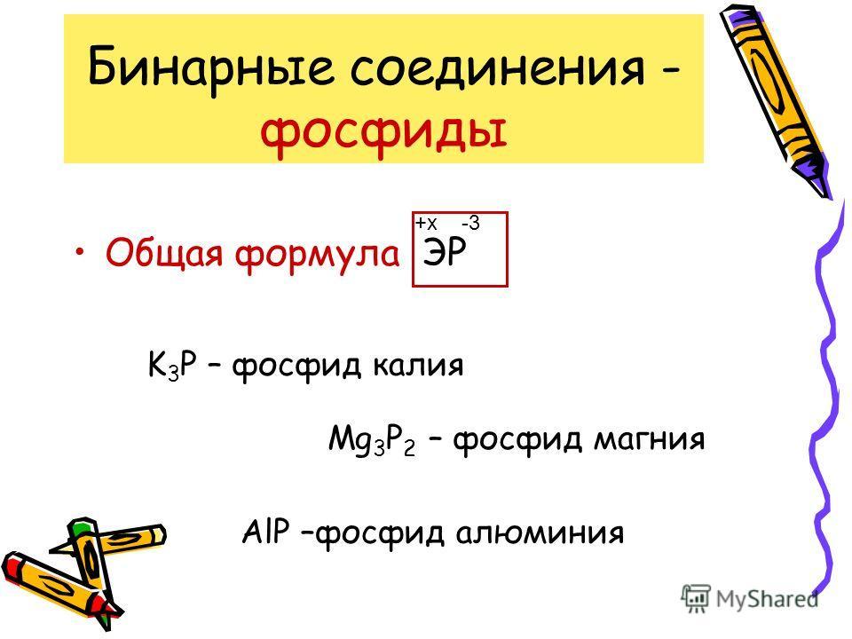 Бинарные соединения - нитриды Общая формула ЭN -3+x K 3 N – нитрид калия Mg 3 N 2 – нитрид магния AlN –нитрид алюминия