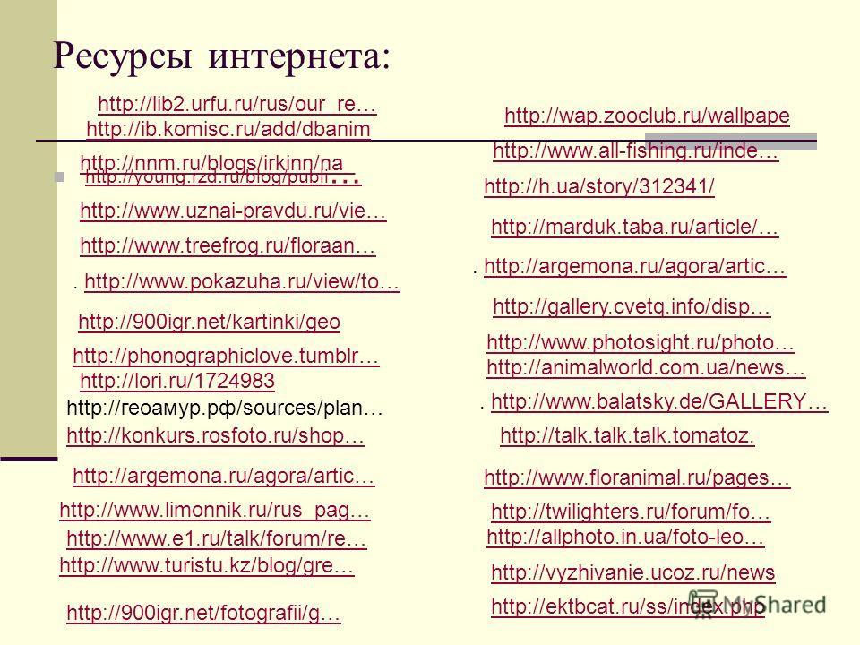 Ресурсы интернета: http://young.rzd.ru/blog/publi … http://young.rzd.ru/blog/publi … http://www.uznai-pravdu.ru/vie… http://www.treefrog.ru/floraan…. http://www.pokazuha.ru/view/to… http://www.pokazuha.ru/view/to… http://900igr.net/kartinki/geo http: