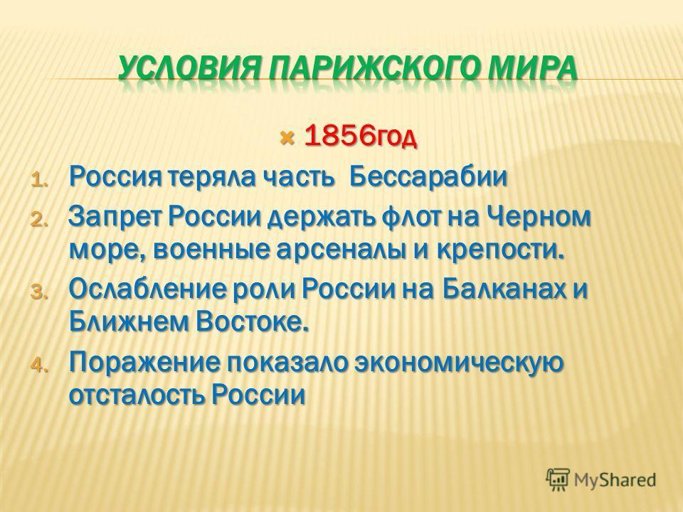 1856год 1856год 1. Россия теряла часть Бессарабии 2. Запрет России держать флот на Черном море, военные арсеналы и крепости. 3. Ослабление роли России на Балканах и Ближнем Востоке. 4. Поражение показало экономическую отсталость России