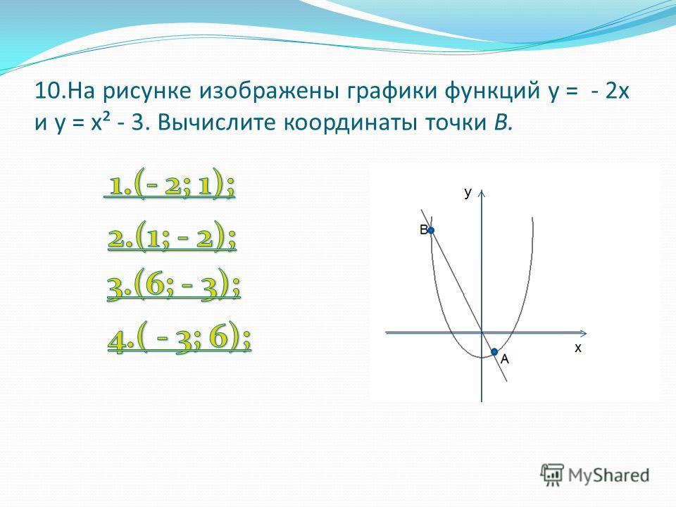 10.На рисунке изображены графики функций у = - 2х и у = х² - 3. Вычислите координаты точки В.