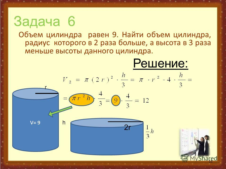 Задача 6 Объем цилиндра равен 9. Найти объем цилиндра, радиус которого в 2 раза больше, а высота в 3 раза меньше высоты данного цилиндра. 11 V= 9 r h 2r2r Решение: