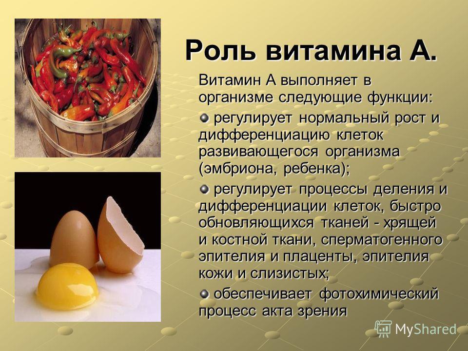 Роль витамина А. Витамин А выполняет в организме следующие функции: регулирует нормальный рост и дифференциацию клеток развивающегося организма (эмбриона, ребенка); регулирует нормальный рост и дифференциацию клеток развивающегося организма (эмбриона