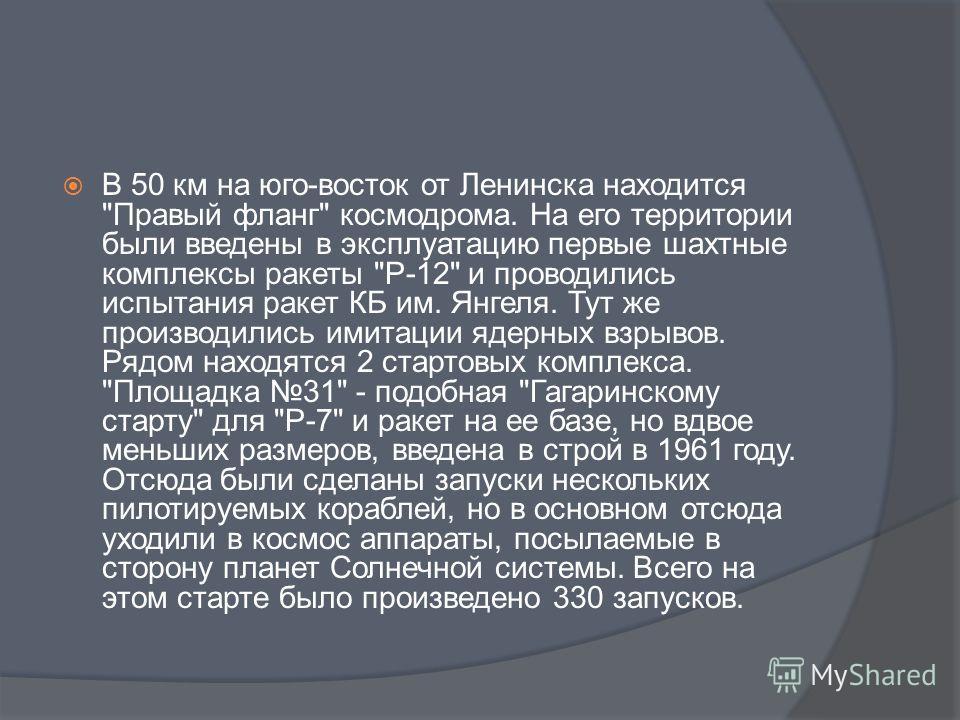 В 50 км на юго-восток от Ленинска находится