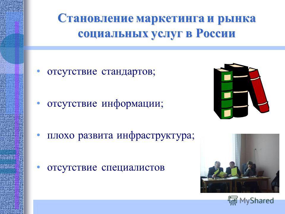 Становление маркетинга и рынка социальных услуг в России отсутствие стандартов; отсутствие информации; плохо развита инфраструктура; отсутствие специалистов