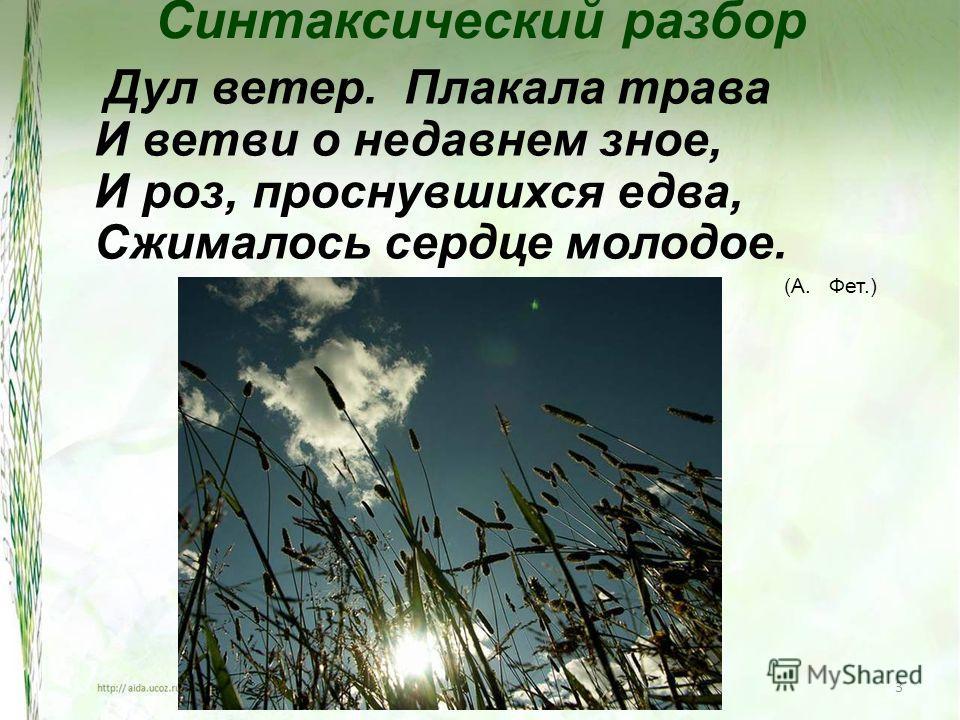 3 Синтаксический разбор Дул ветер. Плакала трава И ветви о недавнем зное, И роз, проснувшихся едва, Сжималось сердце молодое. (А. Фет.)