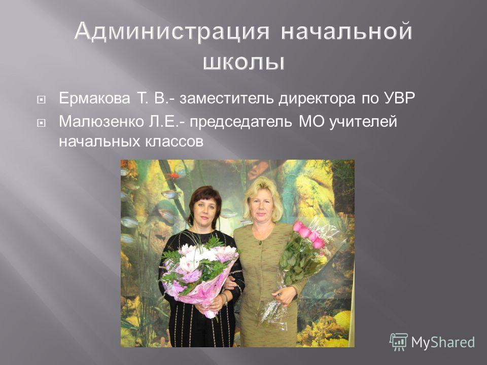 Ермакова Т. В.- заместитель директора по УВР Малюзенко Л.Е.- председатель МО учителей начальных классов