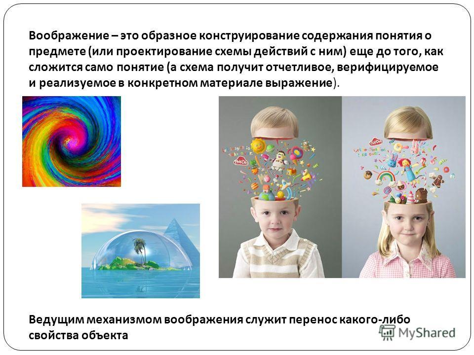 Воображение – это образное конструирование содержания понятия о предмете ( или проектирование схемы действий с ним ) еще до того, как сложится само понятие ( а схема получит отчетливое, верифицируемое и реализуемое в конкретном материале выражение ).