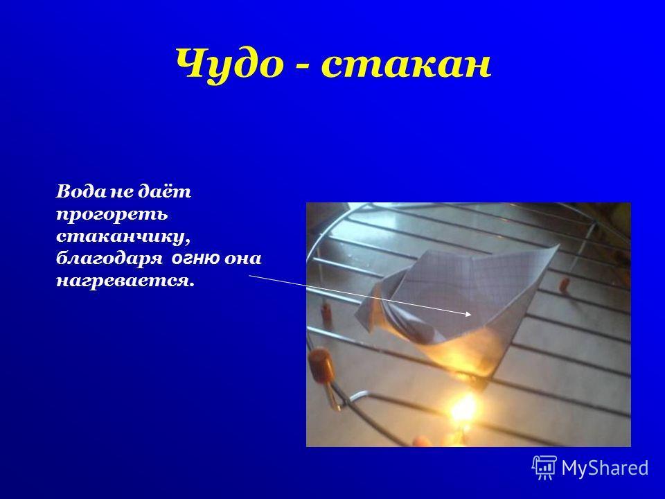 Чудо - стакан Вода не даёт прогореть стаканчику, благодаря огню она нагревается.