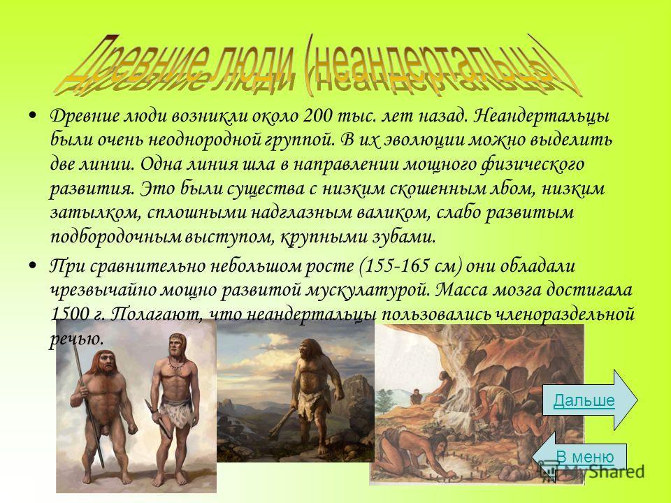 Древние люди возникли около 200 тыс. лет назад. Неандертальцы были очень неоднородной группой. В их эволюции можно выделить две линии. Одна линия шла в направлении мощного физического развития. Это были существа с низким скошенным лбом, низким затылк