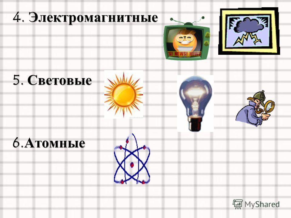 4. Электромагнитные 5. Световые 6. Атомные