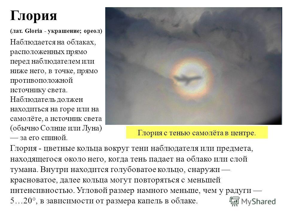 Наблюдается на облаках, расположенных прямо перед наблюдателем или ниже него, в точке, прямо противоположной источнику света. Наблюдатель должен находиться на горе или на самолёте, а источник света (обычно Солнце или Луна) за его спиной. Глория Глори