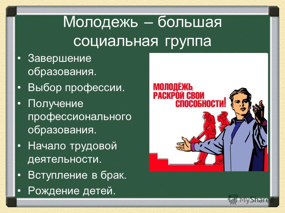 Молодежь – большая социальная группа Завершение образования. Выбор профессии. Получение профессионального образования. Начало трудовой деятельности. Вступление в брак. Рождение детей.