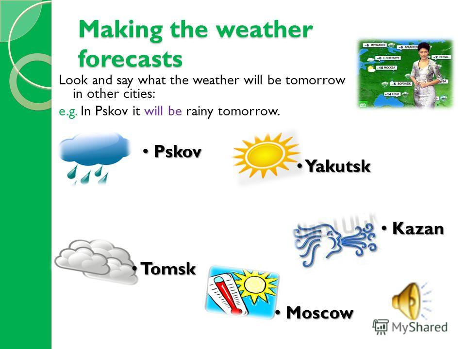Making the weather forecasts Look and say what the weather will be tomorrow in other cities: e.g. In Pskov it will be rainy tomorrow. Pskov Pskov Yakutsk Yakutsk Tomsk Tomsk Kazan Kazan Moscow Moscow