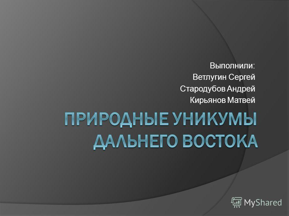 Выполнили: Ветлугин Сергей Стародубов Андрей Кирьянов Матвей
