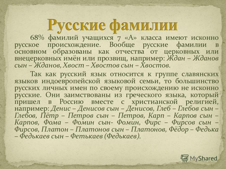 68% фамилий учащихся 7 «А» класса имеют исконно русское происхождение. Вообще русские фамилии в основном образованы как отчества от церковных или внецерковных имён или прозвищ, например: Ждан – Жданов сын – Жданов, Хвост – Хвостов сын – Хвостов. Так