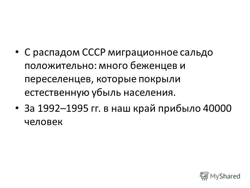 С распадом СССР миграционное сальдо положительно: много беженцев и переселенцев, которые покрыли естественную убыль населения. За 1992–1995 гг. в наш край прибыло 40000 человек
