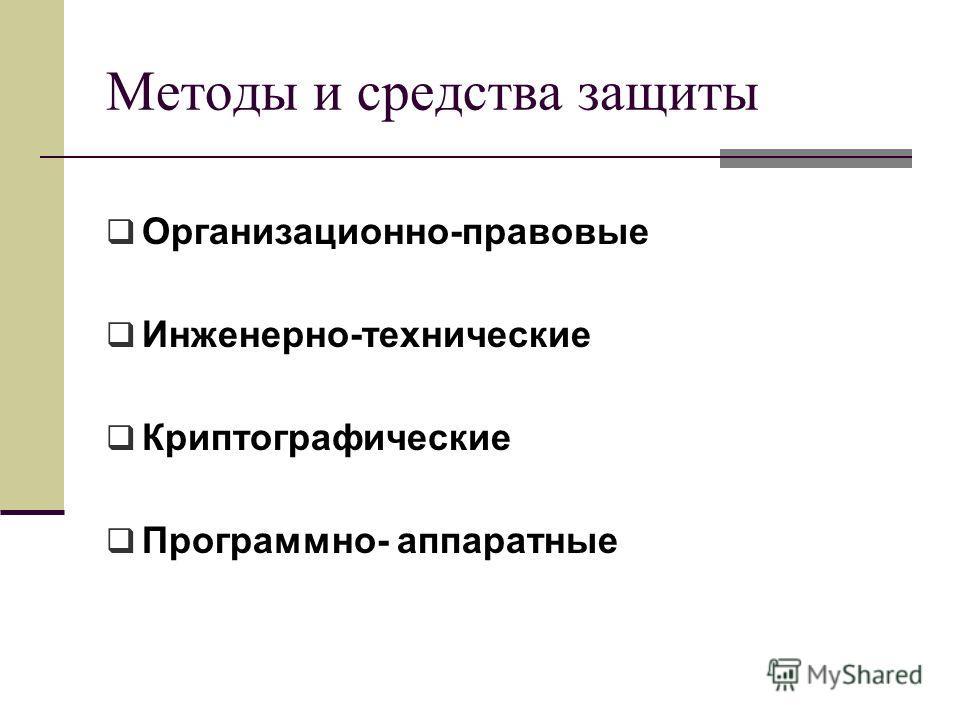 Методы и средства защиты Организационно-правовые Инженерно-технические Криптографические Программно- аппаратные