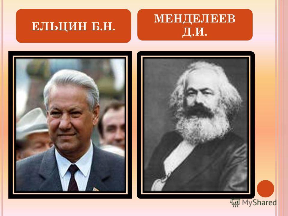 ЕЛЬЦИН Б.Н. МЕНДЕЛЕЕВ Д.И.