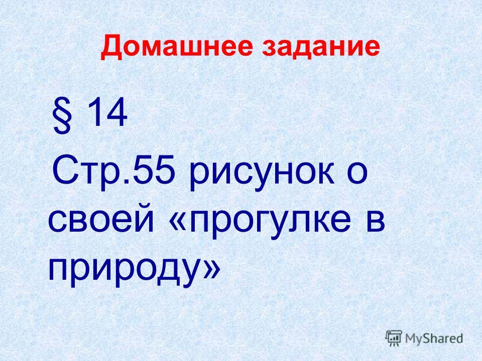 Домашнее задание § 14 Стр.55 рисунок о своей «прогулке в природу»