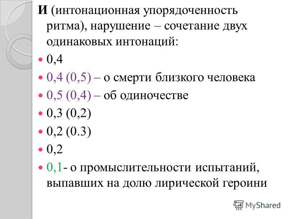 И (интонационная упорядоченность ритма), нарушение – сочетание двух одинаковых интонаций: 0,4 0,4 (0,5) – о смерти близкого человека 0,5 (0,4) – об одиночестве 0,3 (0,2) 0,2 (0.3) 0,2 0,1- о промыслительности испытаний, выпавших на долю лирической ге