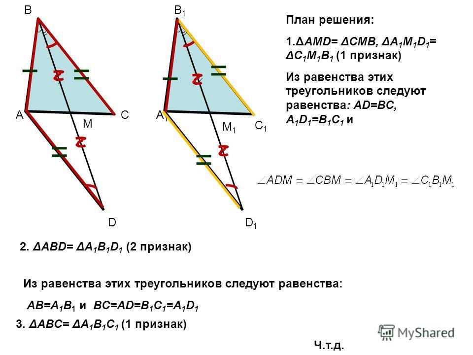 Дополнительные построения A1A1 B1B1 M1M1 C1C1 A B C M D D1D1 В данных треугольниках удвоим медианы BM=MD и B 1 M 1 =M 1 D 1. 1.ΔAMD= ΔCMB, ΔA 1 M 1 D 1 = ΔC 1 M 1 B 1 (1 признак)