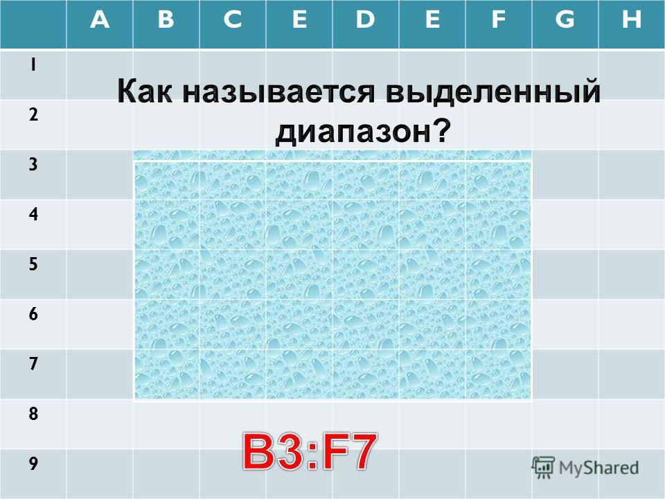 ABCEDEFGH 1 2 3 4 5 6 7 8 9