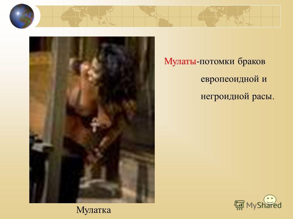 Мулаты Мулаты-потомки браков европеоидной и негроидной расы. Мулатка