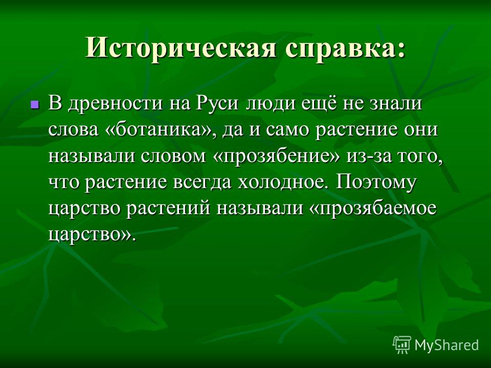 Историческая справка: В древности на Руси люди ещё не знали слова «ботаника», да и само растение они называли словом «прозябение» из-за того, что растение всегда холодное. Поэтому царство растений называли «прозябаемое царство».