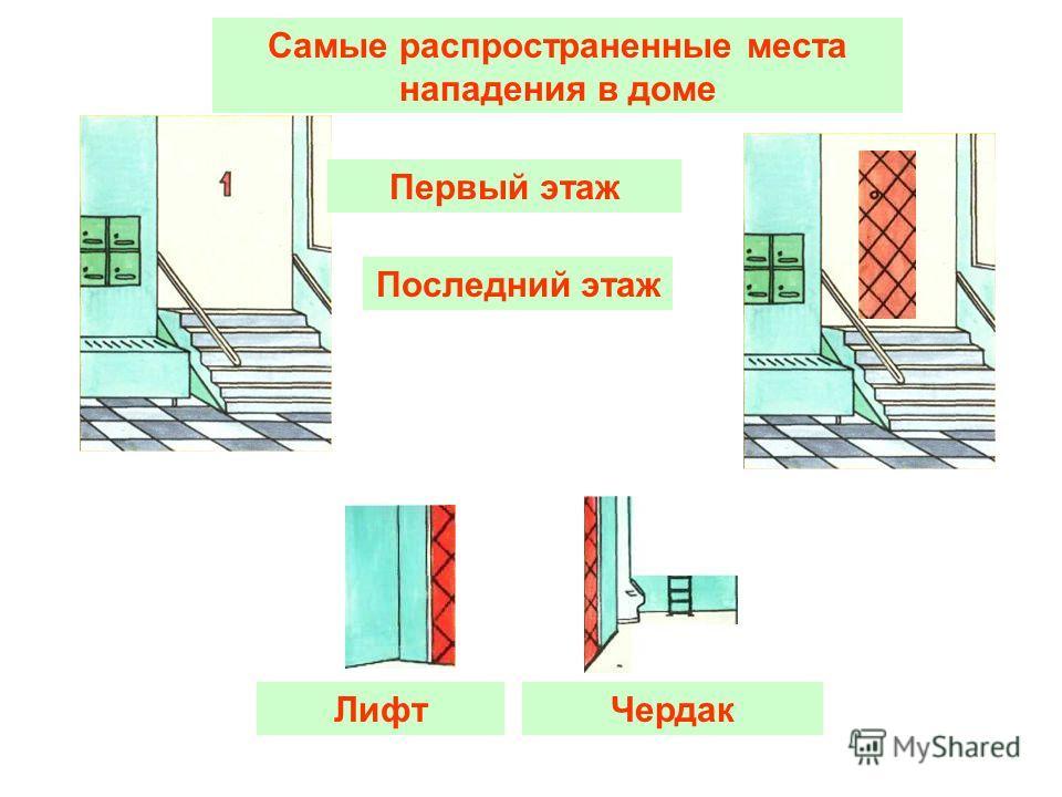 Первый этаж Самые распространенные места нападения в доме Последний этаж ЛифтЧердак
