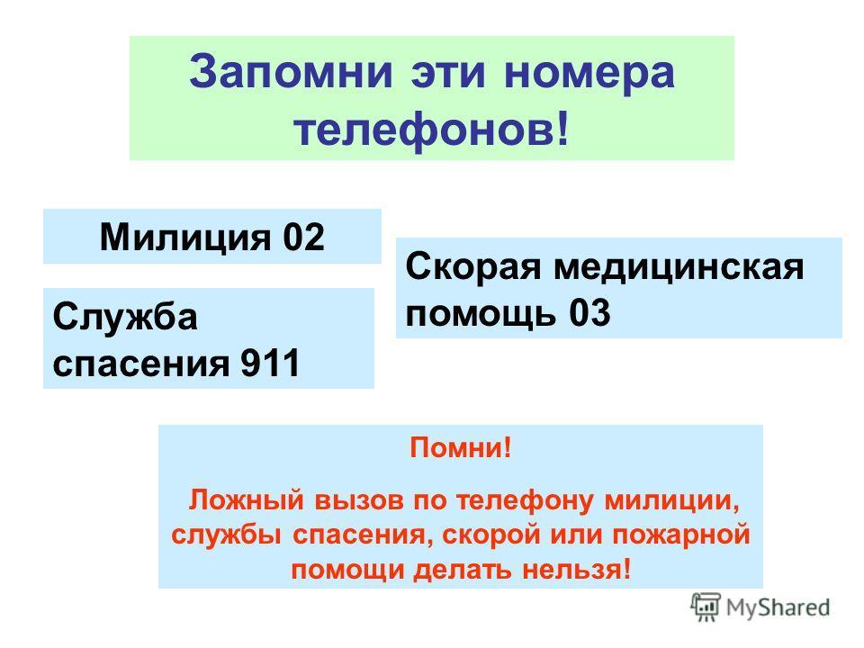 Запомни эти номера телефонов! Милиция 02 Скорая медицинская помощь 03 Служба спасения 911 Помни! Ложный вызов по телефону милиции, службы спасения, скорой или пожарной помощи делать нельзя!
