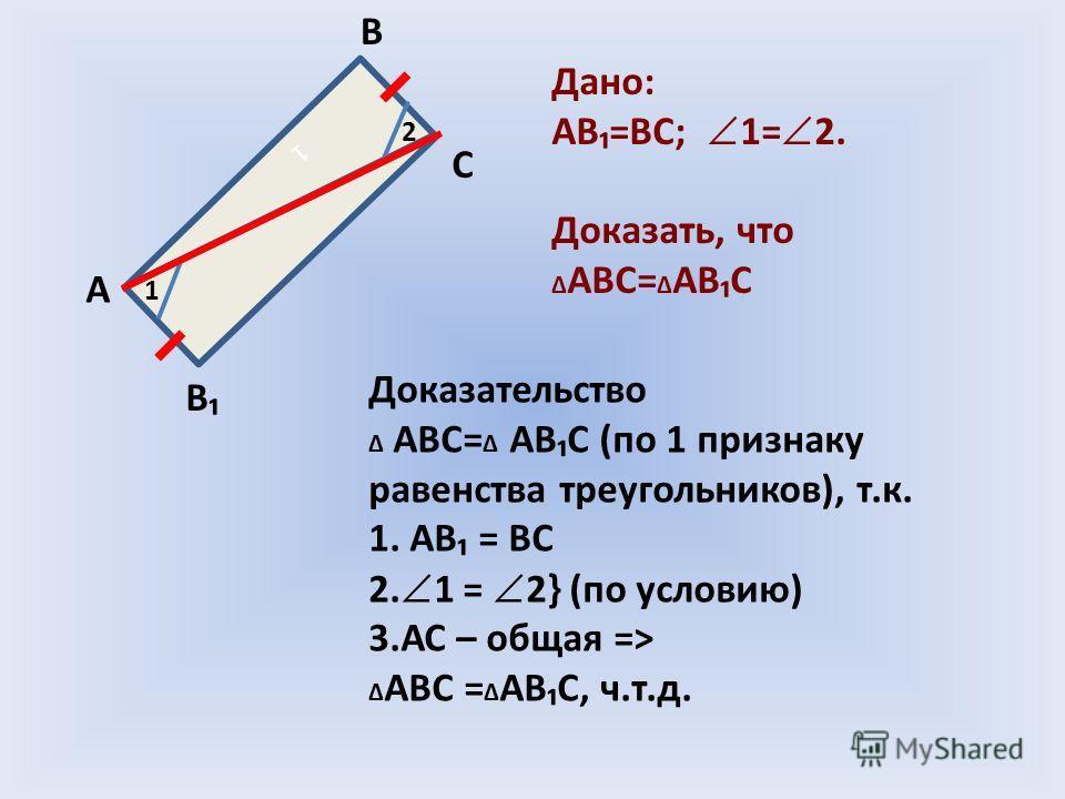 1 1 2 А В С В Дано: АВ=ВС; 1= 2. Доказать, что АВС= АВ С Доказательство АВС= АВС (по 1 признаку равенства треугольников), т.к. 1. АВ = ВС 2. 1 = 2} (по условию) 3.АС – общая => АВС = АВС, ч.т.д.