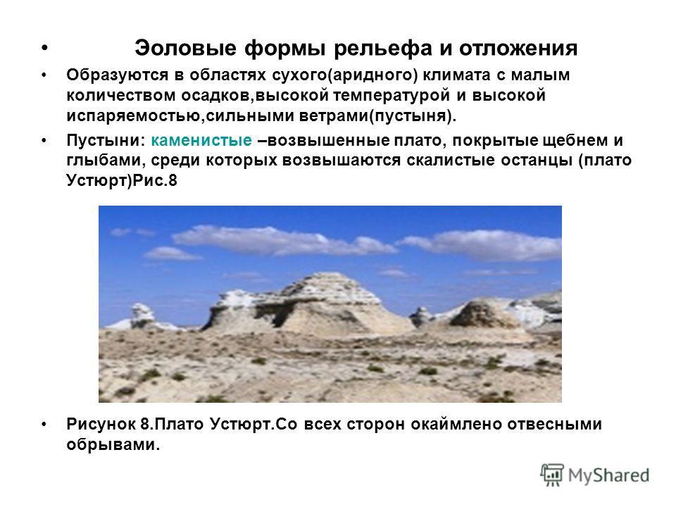 Эоловые формы рельефа и отложения Образуются в областях сухого(аридного) климата с малым количеством осадков,высокой температурой и высокой испаряемостью,сильными ветрами(пустыня). Пустыни: каменистые –возвышенные плато, покрытые щебнем и глыбами, ср