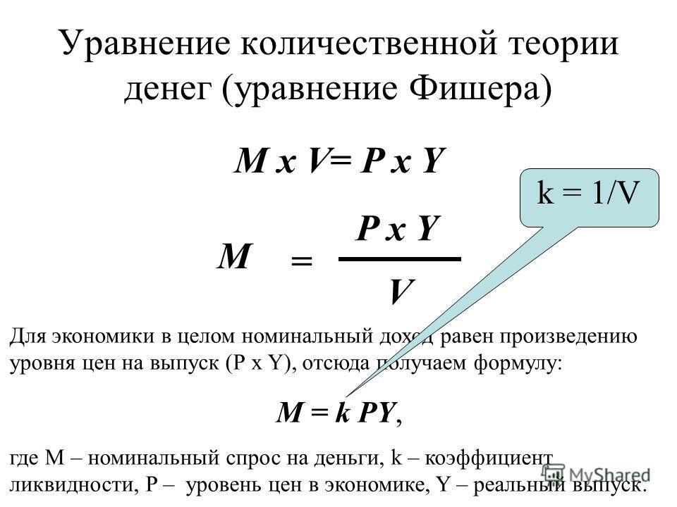 Уравнение количественной теории денег (уравнение Фишера) M x V= P x Y Для экономики в целом номинальный доход равен произведению уровня цен на выпуск (Р х Y), отсюда получаем формулу: М = k РY, где М – номинальный спрос на деньги, k – коэффициент лик