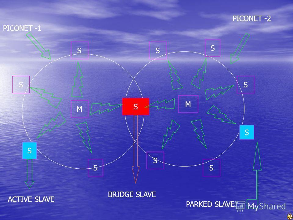 S S S S S M S S S S S S M PICONET -1 PICONET -2 BRIDGE SLAVE PARKED SLAVE ACTIVE SLAVE